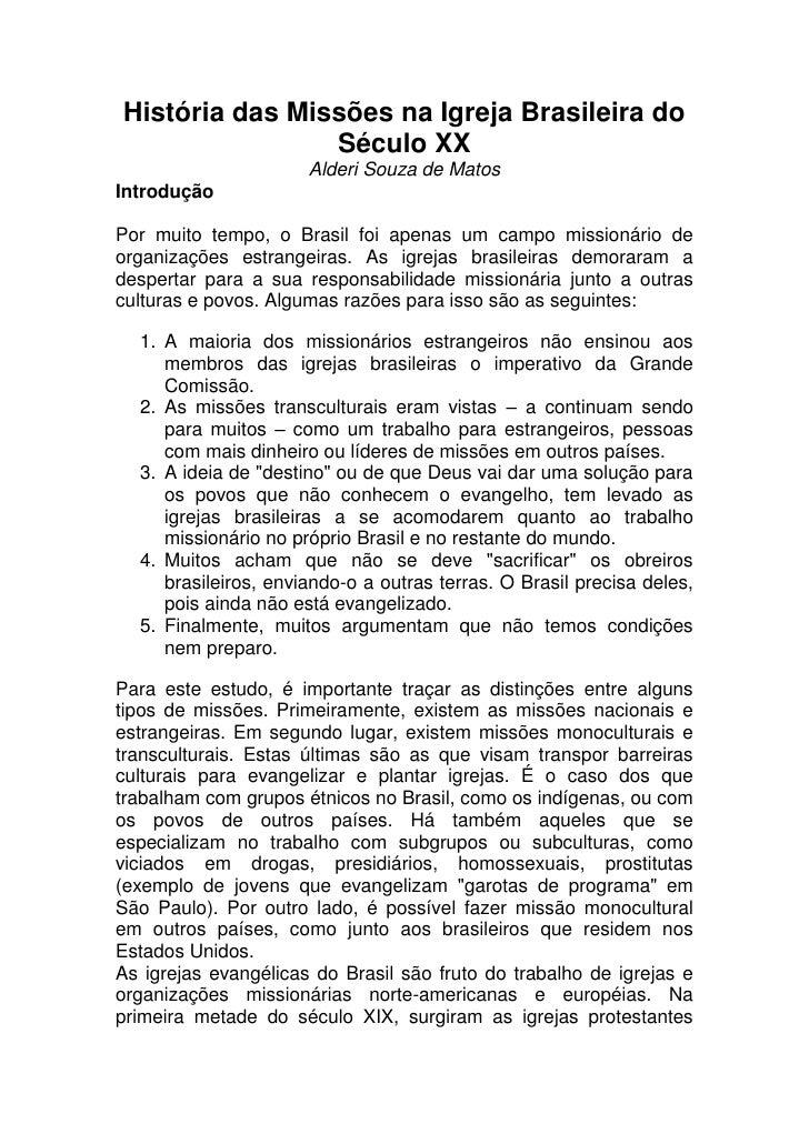 História das missões na igreja brasileira do século xx