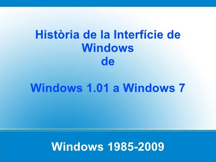 Windows 1985-2009 Història de la Interfície de Windows de Windows 1.01 a Windows 7