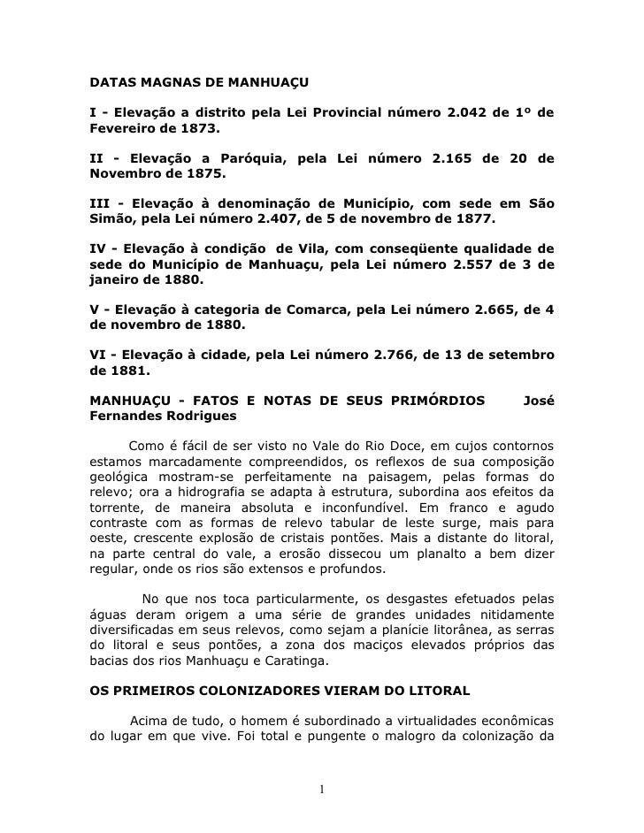 HistóRia De ManhuaçU