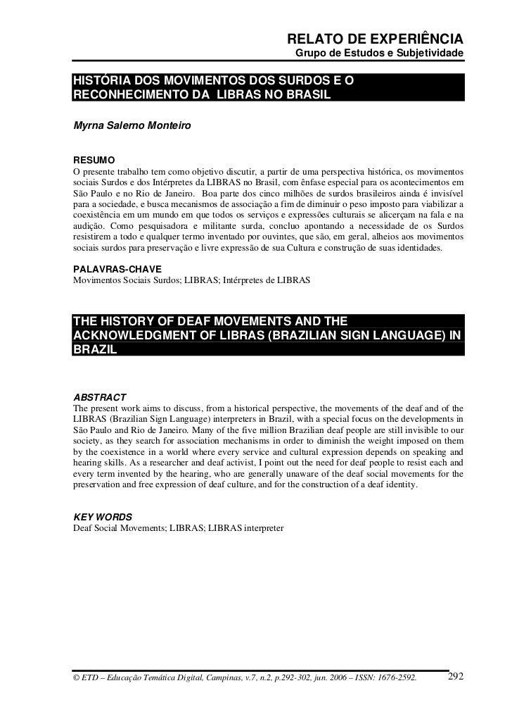 História do Movimento Surdo no Brasil