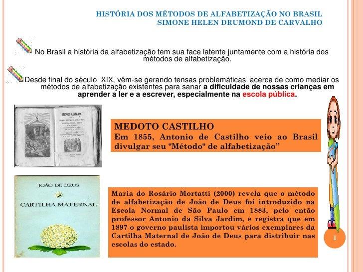 História dos métodos de alfabetização no brasil ufam por simone helen drumond