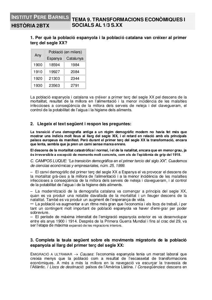 INSTITUT PERE BARNILS TEMA 9. TRANSFORMACIONS ECONÒMIQUES IHISTÒRIA 2BTX                   SOCIALS AL 1/3 S.XX      1. Per...