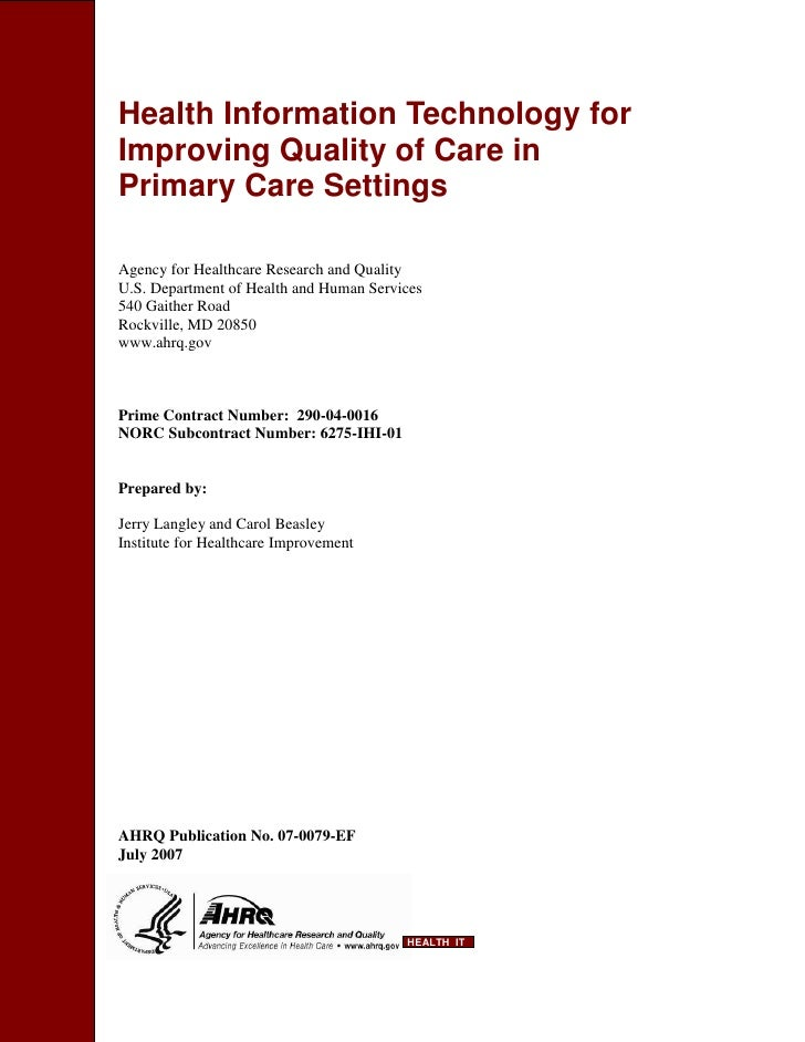 Health Information Technology for Improving Quality of Care in Primary Care Settings  Agency for Healthcare Research and Q...