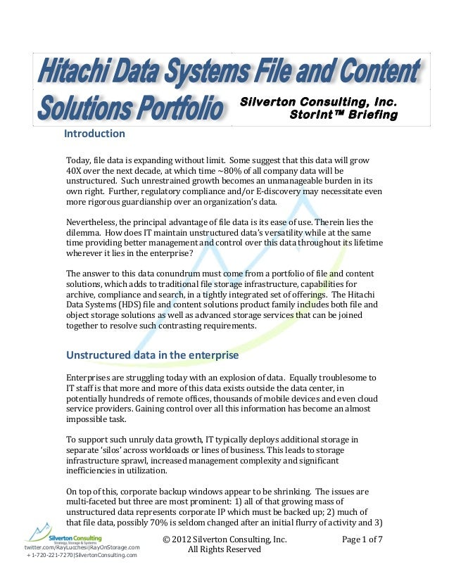 File and Content Solutions Portfolio by HDS