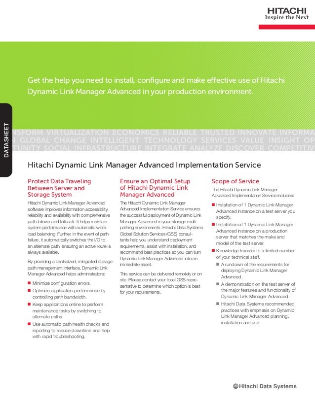 Hitachi Dynamic Link Manager Advanced Implementation Service