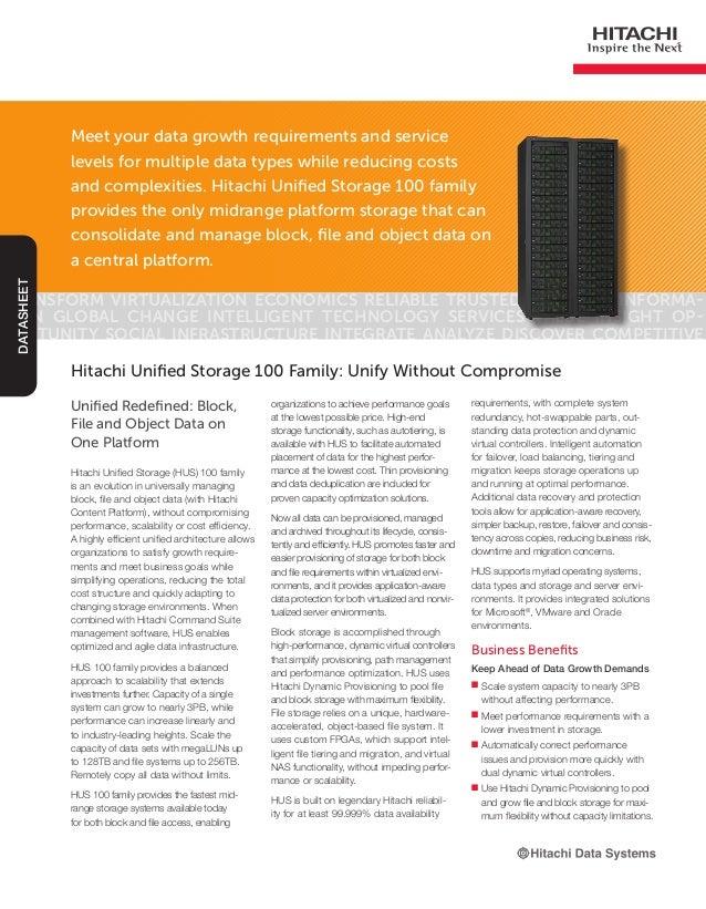 Hitachi Unified Storage 100 Family: Unify Without Compromise -- Datasheet