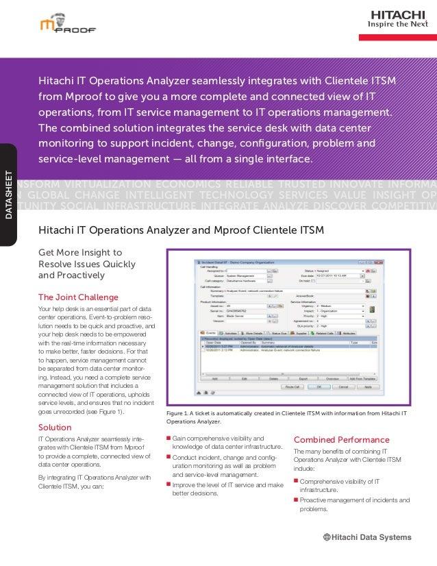 Hitachi IT Operations Analyzer and Mproof Clientele ITSM Datasheet