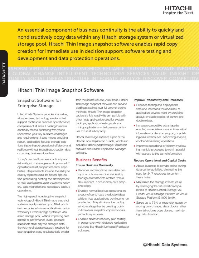 Snapshot Software for Enterprise Storage Hitachi Data Systems provides innovative, storage-based technology solutions that...