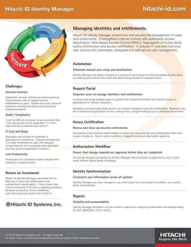 Hitachi ID Identity Manager Brochure