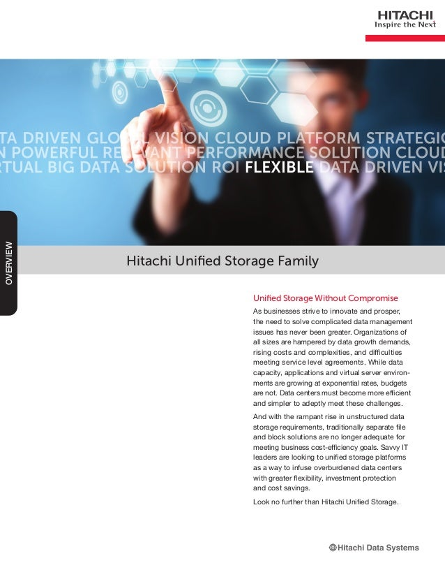 Hitachi Unified Storage Family Unified Storage Without Compromise As businesses strive to innovate and prosper, the need t...