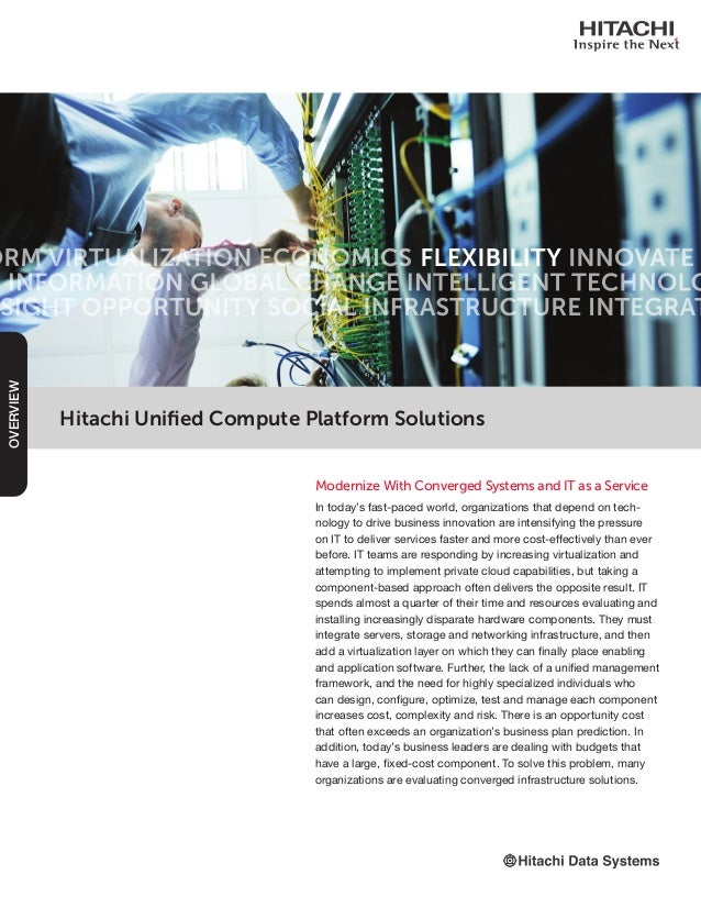 Hitachi Unified Compute Platform Solutions Modernize With Converged Systems and IT as a Service In today's fast-paced worl...
