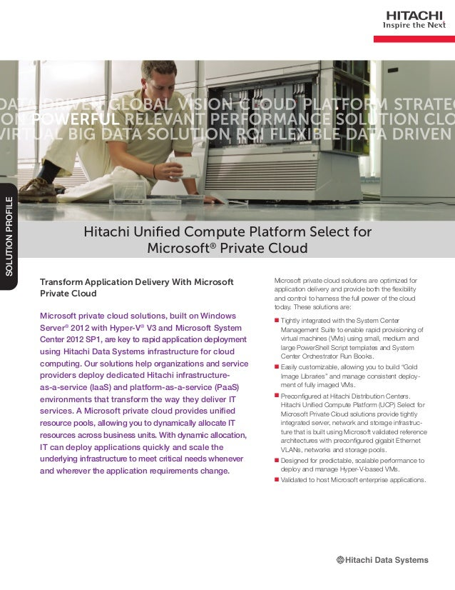 Hitachi Unified Compute Platform Select for Microsoft  Private Cloud -- Solution Profile