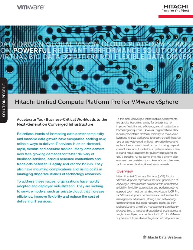 Hitachi Unified Compute Platform Pro for VMware vSphere Solution Profile
