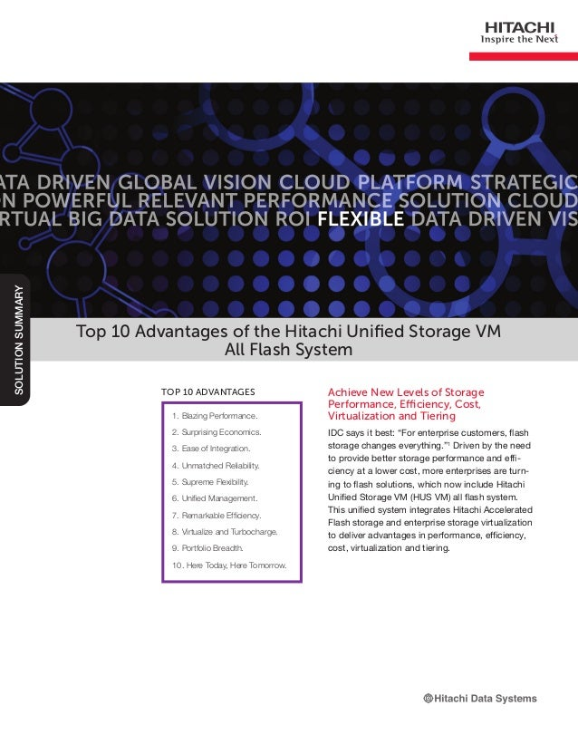 Top 10 Advantages of Hitachi Unified Storage VM All Flash Configuration