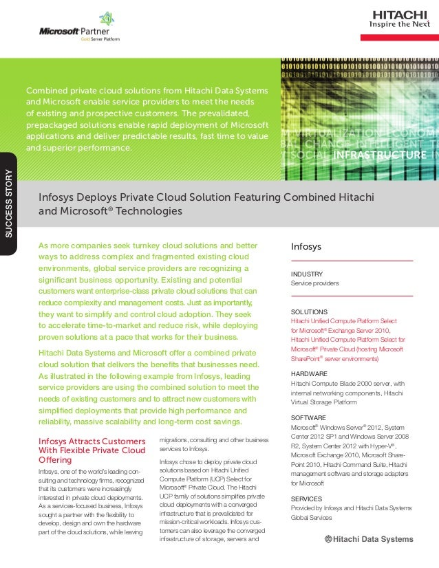Infosys Deploys Private Cloud Solution Featuring Combined Hitachi and Microsoft® Technologies SUCCESSSTORY INDUSTRY Servic...