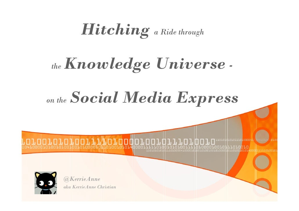 Hitching a Ride through  the   Knowledge Universe -  on the   Social Media Express           @KerrieAnne        aka Kerrie...