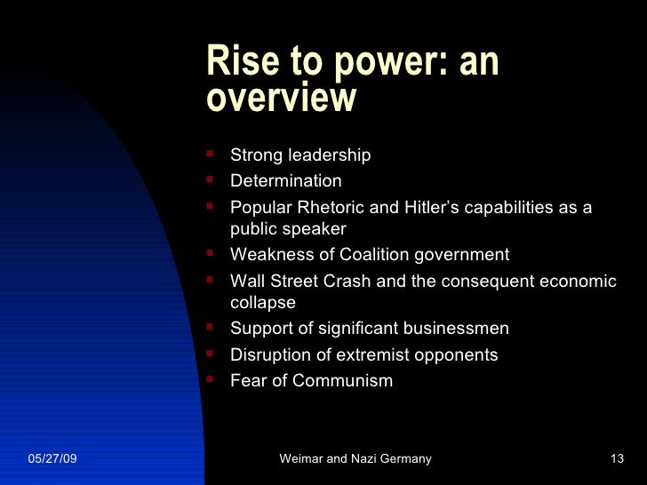 What factors led to Hitler's rise to power?