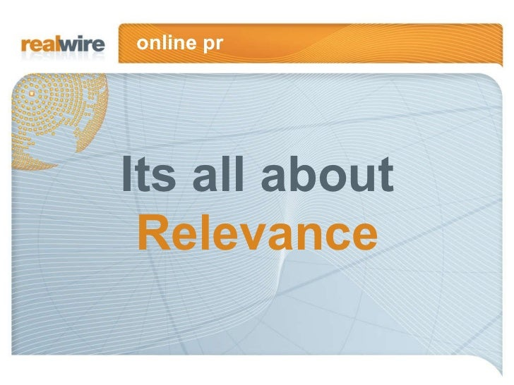 Online PR Its All About Relevance