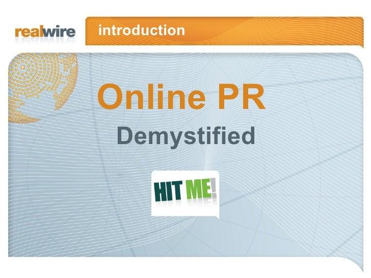 Online PR Demystified introduction