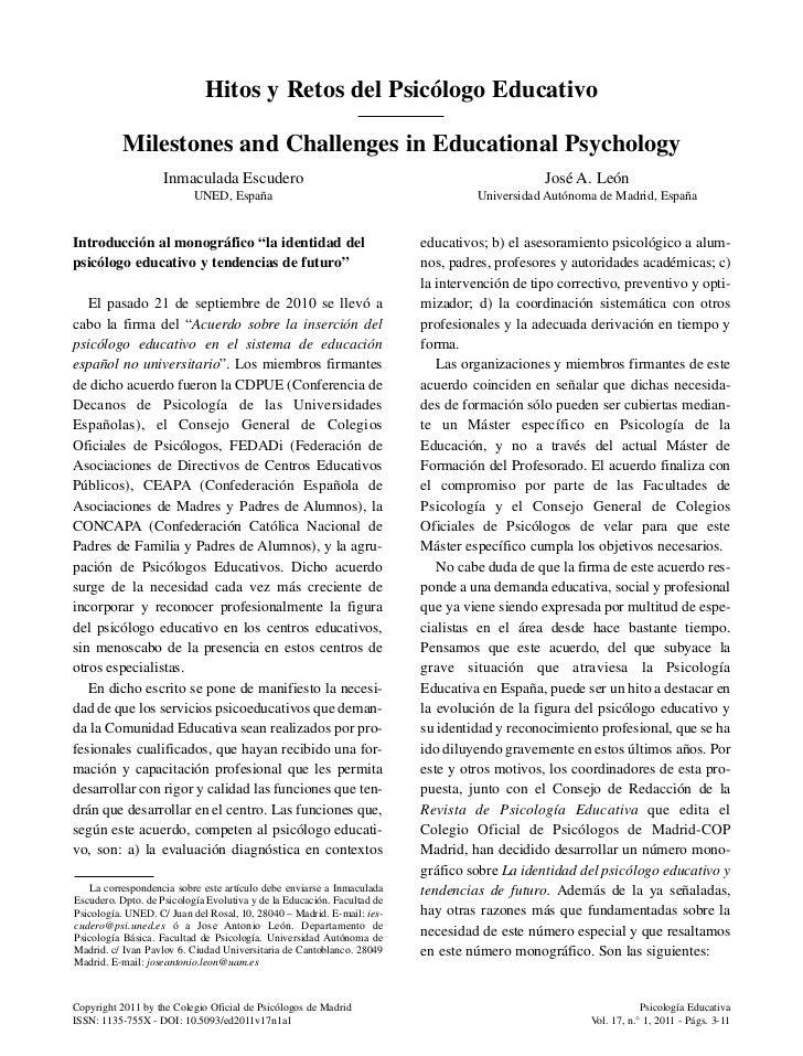 Hitos y Retos del Psicólogo Educativo          Milestones and Challenges in Educational Psychology                    Inma...