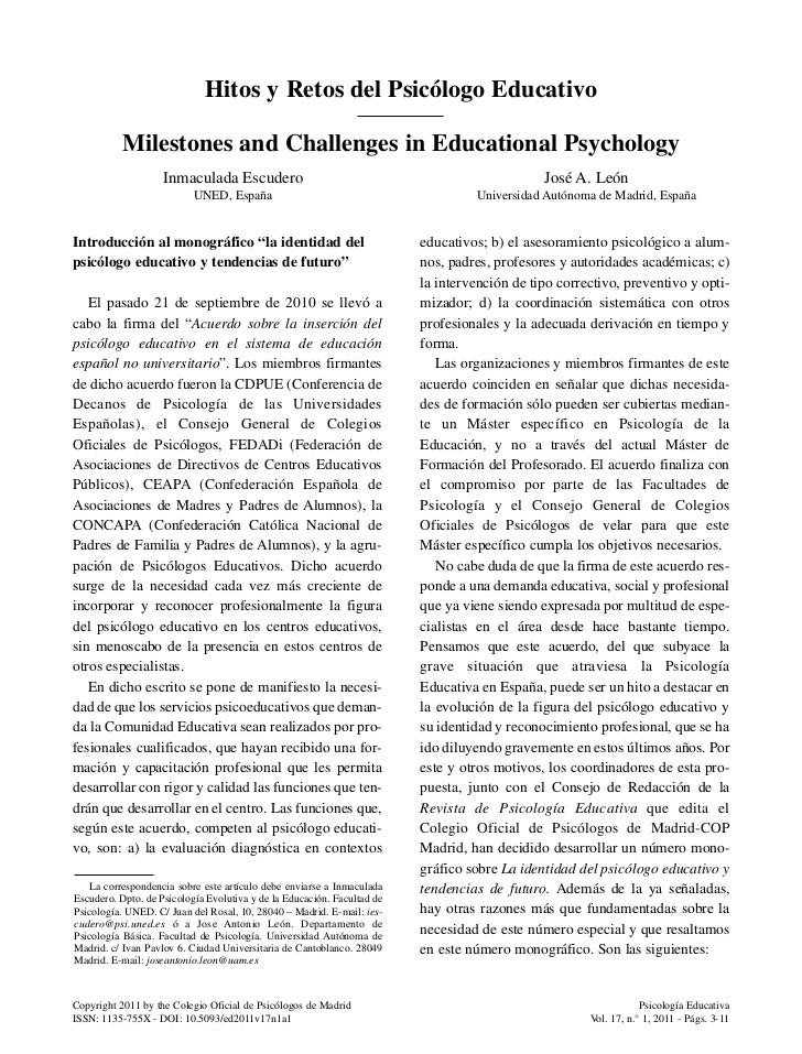 Hitos y retos del psicologo educativo (2011)