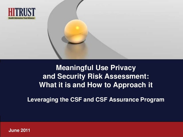 Meaningful Use Privacy             and Security Risk Assessment:            What it is and How to Approach it       Levera...