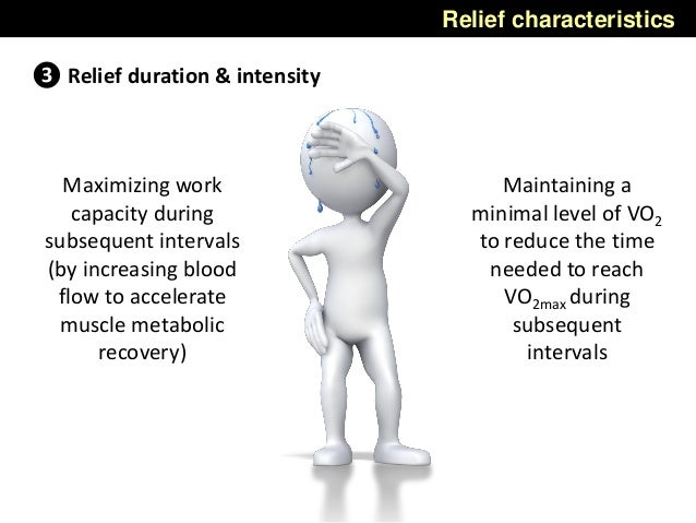 Relief characteristics ❸ Relief duration & intensity Maximizing work capacity during subsequent intervals (by increasing b...