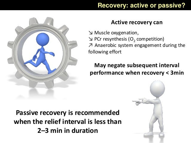 Recovery: active or passive? Passive recovery is recommended when the relief interval is less than 2–3 min in duration Act...