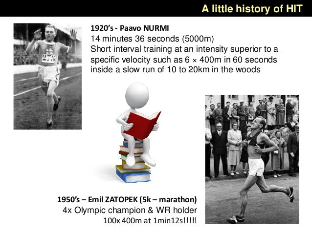 1920's - Paavo NURMI 14 minutes 36 seconds (5000m) Short interval training at an intensity superior to a specific velocity...