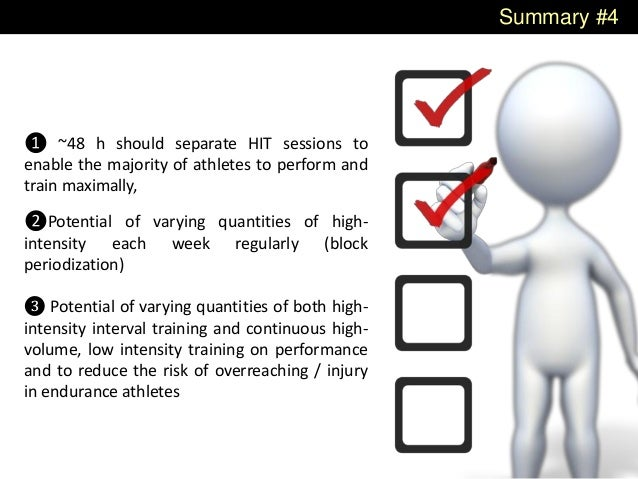 Summary #4 ❶ ~48 h should separate HIT sessions to enable the majority of athletes to perform and train maximally, ❷Potent...