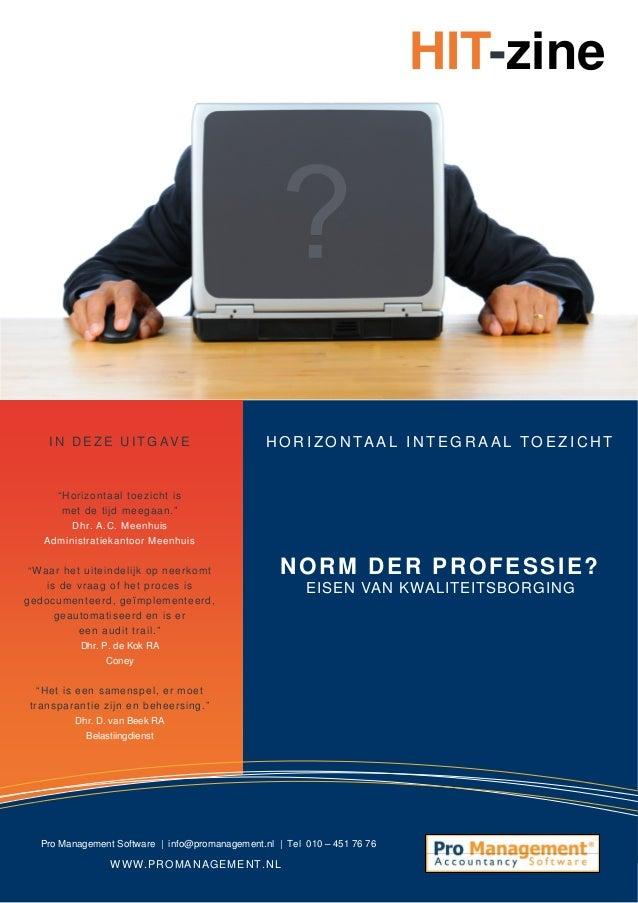 HIT-zine #3, het e-magazine over horizontaal toezicht | Norm der professie? Eisen van kwaliteitsborging
