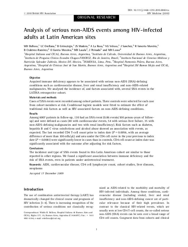 ORIGINAL RESEARCH Analysis of serious non-AIDS events among HIV-infected adults at Latin American sites WH Belloso,1 LC Or...