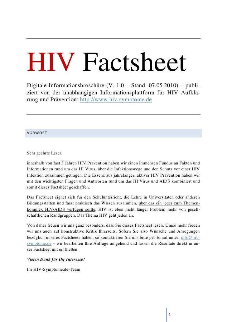 HIV Factsheet Digitale Informationsbroschüre (V. 1.0 – Stand: 07.05.2010) – publi- ziert von der unabhängigen Informations...