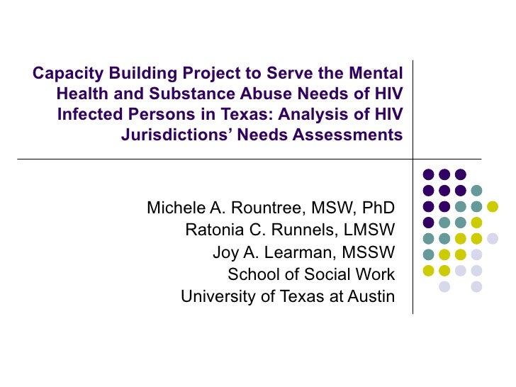 Mental Health and Substance Abuse Needs of HIV Infected Persons in Texas: Analysis of HIV Jurisdictions' Needs Assessments, Dr. Rountree