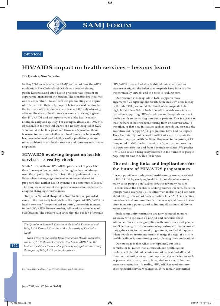 Hiv aids impact on health services   lessons learnt _ quinlan 2007 291
