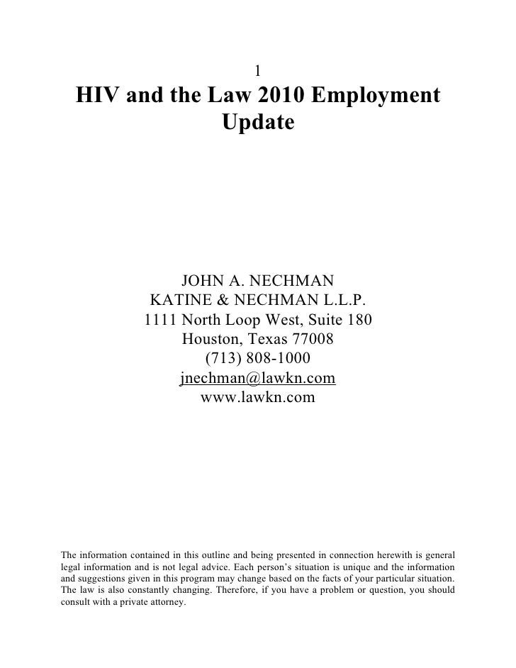1    HIV and the Law 2010 Employment                 Update                              JOHN A. NECHMAN                  ...
