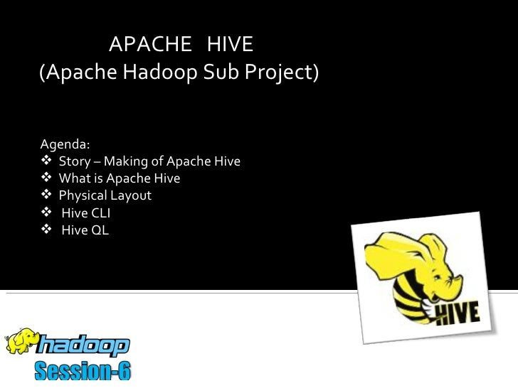 APACHE HIVE(Apache Hadoop Sub Project)Agenda: Story – Making of Apache Hive What is Apache Hive Physical Layout Hive C...