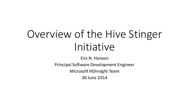 Overview of the Hive Stinger Initiative Eric N. Hanson Principal Software Development Engineer Microsoft HDInsight Team 30...
