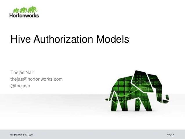 © Hortonworks Inc. 2011 Hive Authorization Models Thejas Nair thejas@hortonworks.com @thejasn Page 1