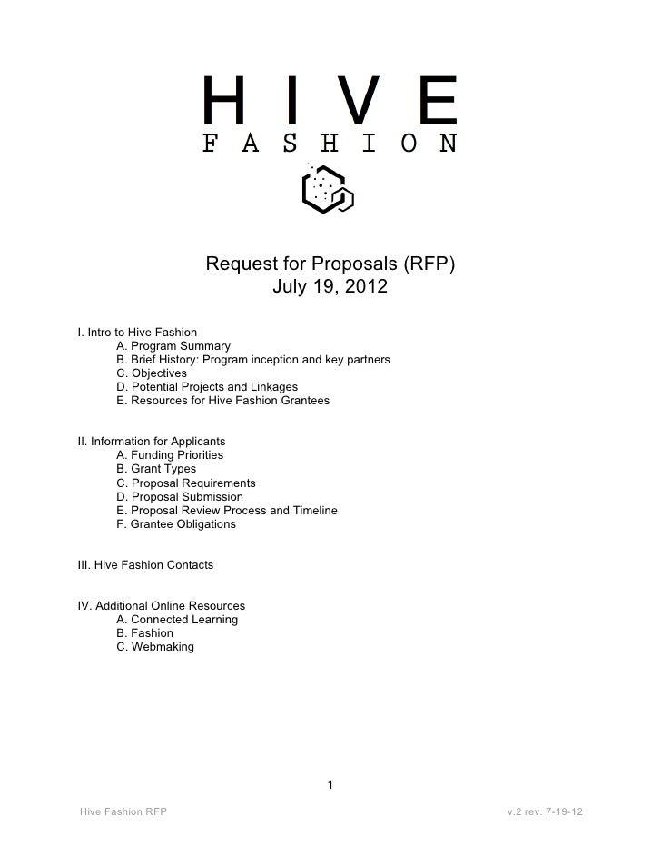 Hive Fashion RFP