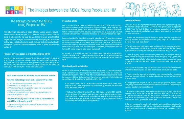 The linkages between the MDGs, Young People and HIV                                                                       ...