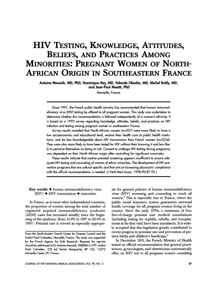 HIV TESTING, KNOWLEDGE, ATTITUDES,     BELIEFS, AND PRACTICES AMONGMINORrTIES: PREGNANT WOMEN OF NORTH-AFRICAN ORIGIN IN S...