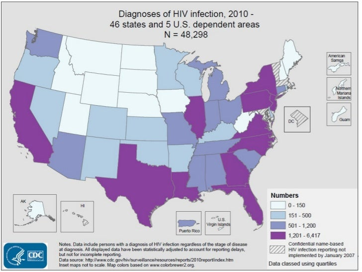 Slide 1: Diagnoses of HIV Infection, 2010 - 46 States and 5 U.S. Dependent AreasIn 2010, in the 46 states and 5 U.S. depen...