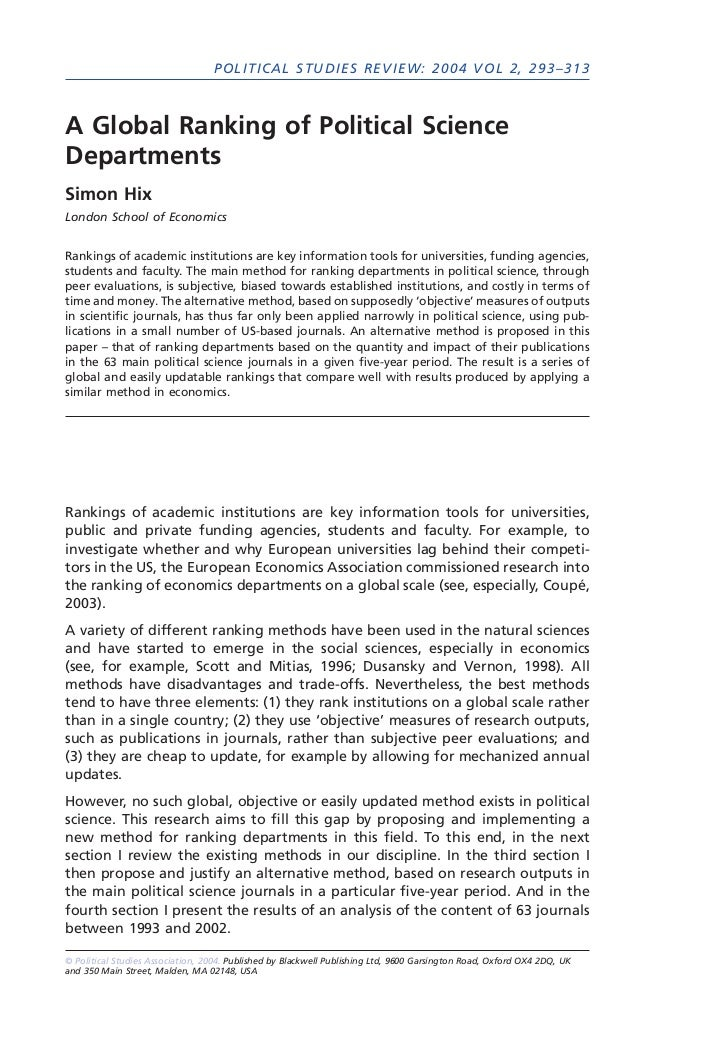 POLITICAL STUDIES REVIEW: 2004 VOL 2, 293–313A Global Ranking of Political ScienceDepartmentsSimon HixLondon School of Eco...