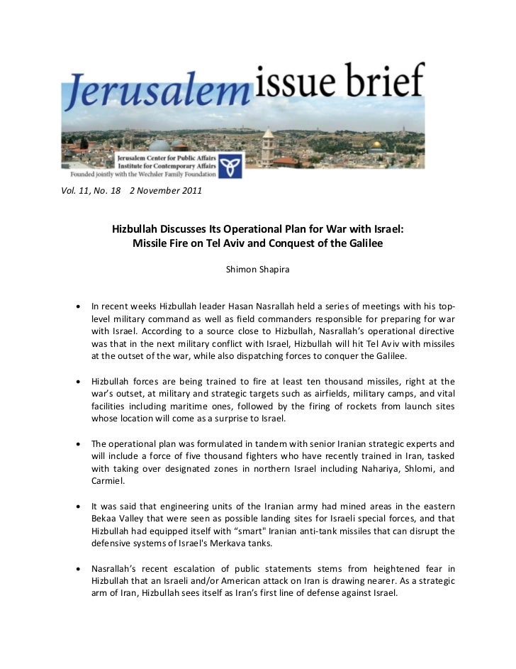 Vol. 11, No. 18 2 November 2011            Hizbullah Discusses Its Operational Plan for War with Israel:                Mi...