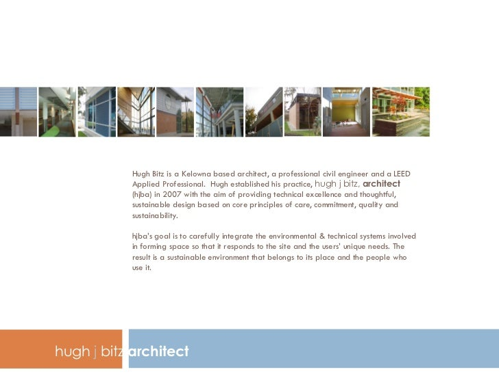 hugh j bitz, architect  porfolio brief