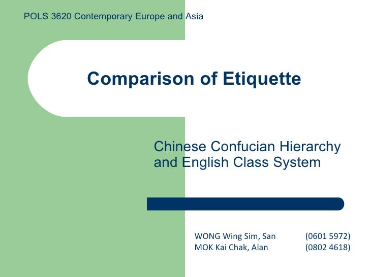 Comparison of Etiquette Chinese Confucian Hierarchy and English Class System WONG Wing Sim, San  (0601 5972)  MOK Kai Chak...