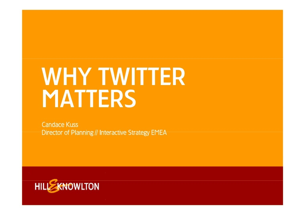 WHY TWITTER MATTERS Candace Kuss Director of Planning // Interactive Strategy EMEA