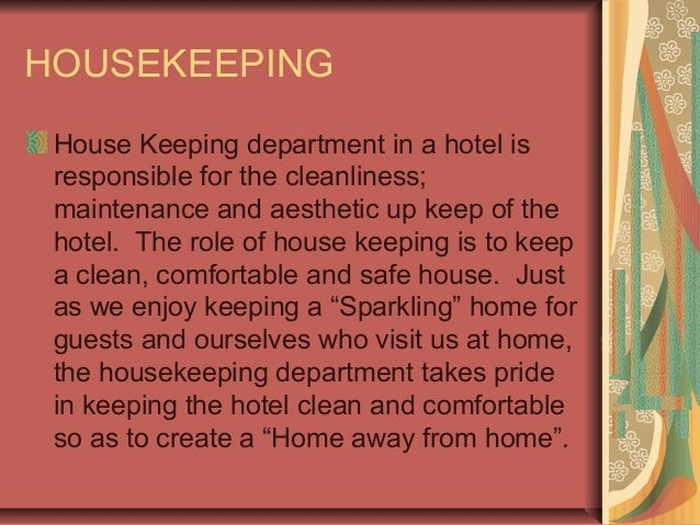 responsibilities of each department in hotels
