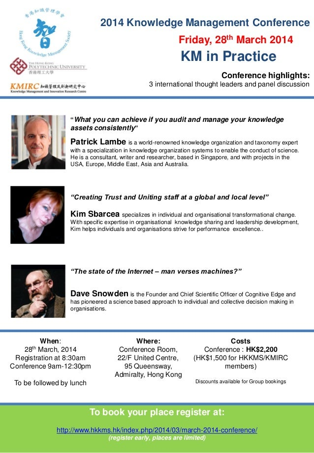 "2014 Knowledge Management Conference ""What you can achieve if you audit and manage your knowledge assets consistently"" Pat..."
